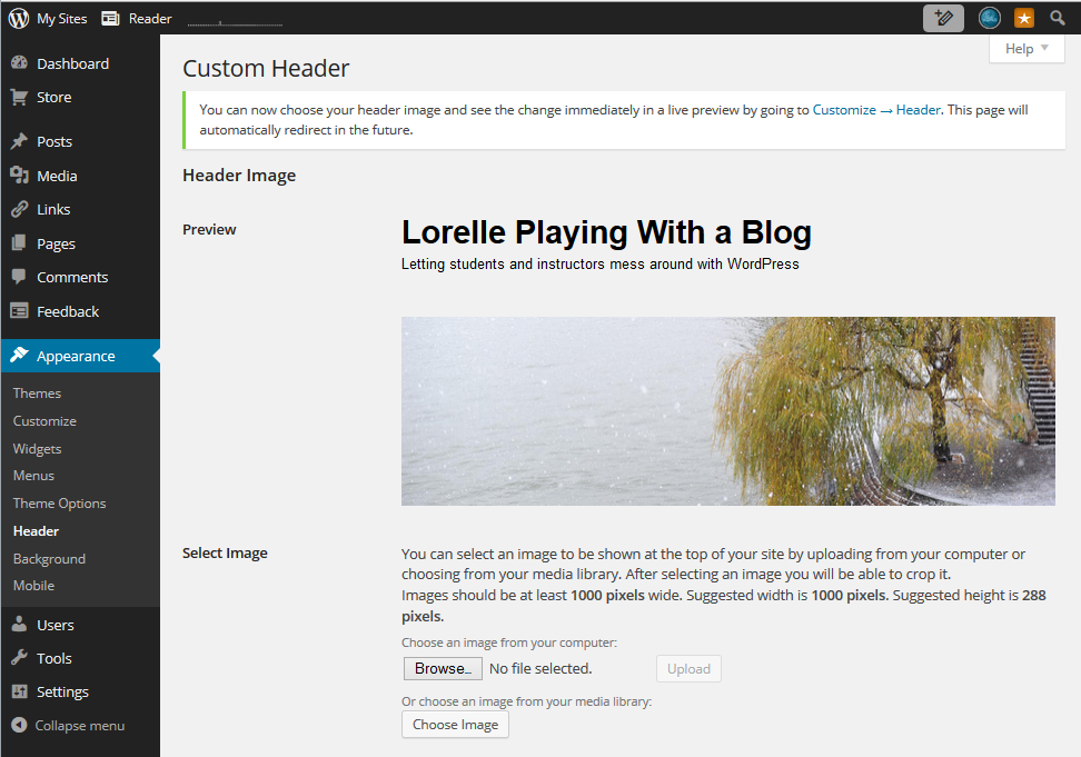 Header Art - WordPress Admin - Appearance - Header Upload and Settings screen shot.