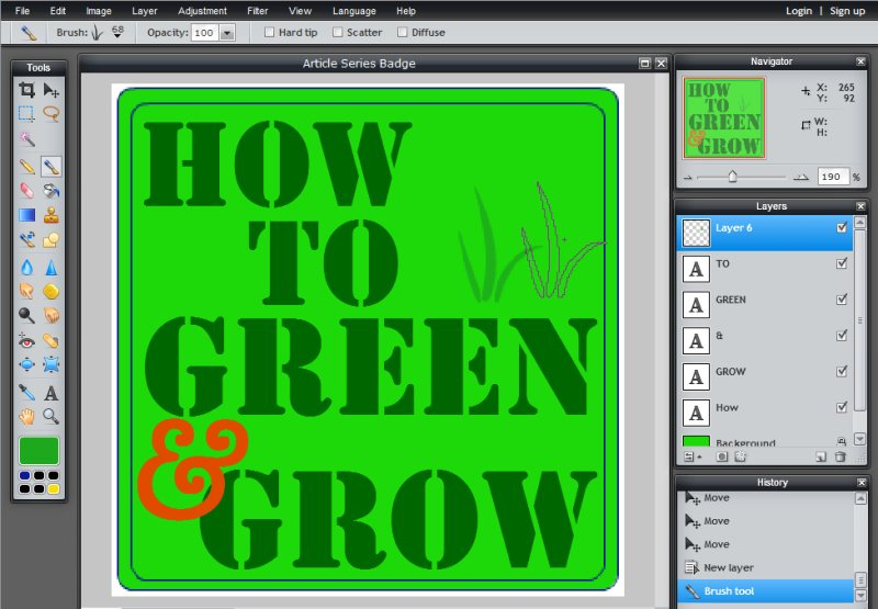 Images - Article Series Badge - Adding leaves with brush in Pixlr - Lorelle WordPress School