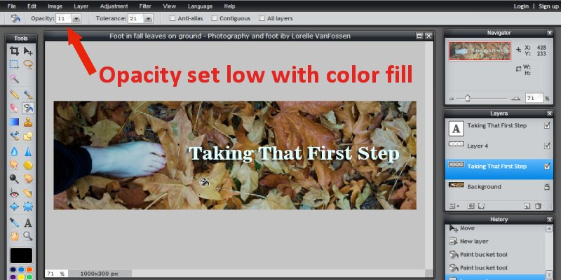 Images - Header Art with Photograph - Adding Fill Layer between text and photograph in Pixlr - Lorelle WordPress School