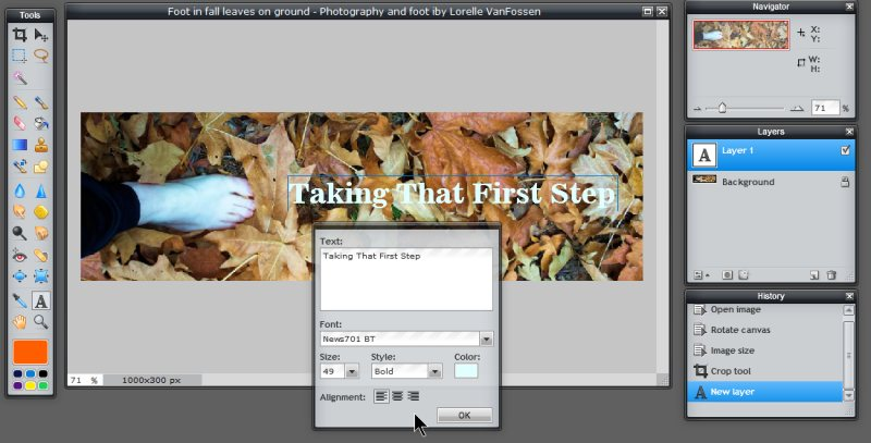 Images - Header Art with Photography - Adding Text Layer in White with Site Title - lost in leaves -  in Pixlr - Lorelle WordPress School