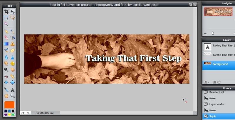 Images - Header Art with Photography - Changing Filter to Sepia on Photograph in Pixlr - Lorelle WordPress School