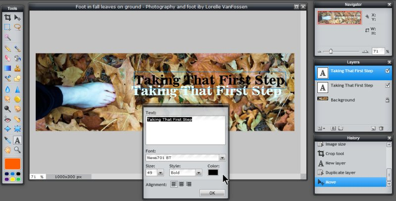 Images - Header Art with Photography - Changing text color to black in Pixlr - Lorelle WordPress School