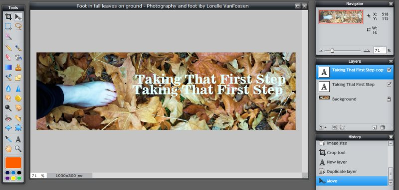 Images - Header Art with Photography - Moving Duplicate Layer of text in prep for shadow in Pixlr - Lorelle WordPress School