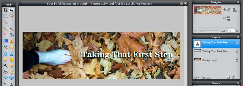 Images - Header Art with Photography - Shadow behind text set in Pixlr - Lorelle WordPress School