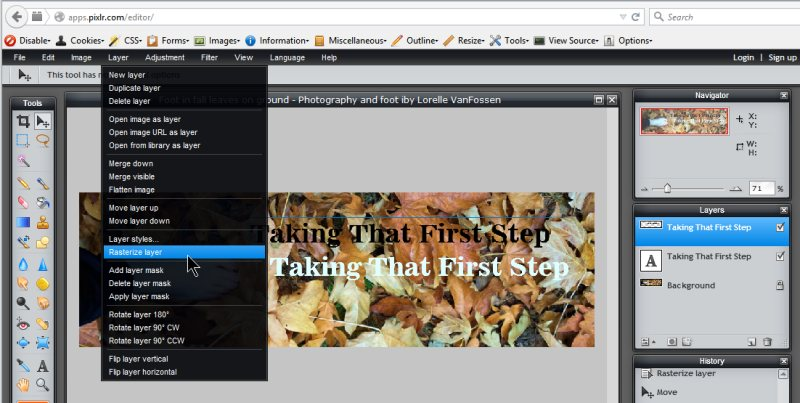 Images - Header Art with Photography - using Rasterizing Layer tool to allow blurring of text in Pixlr - Lorelle WordPress School
