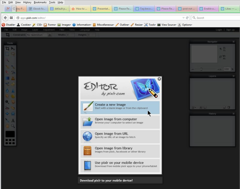 Images - Pixlr Interface and opening screen - Lorelle WordPress School