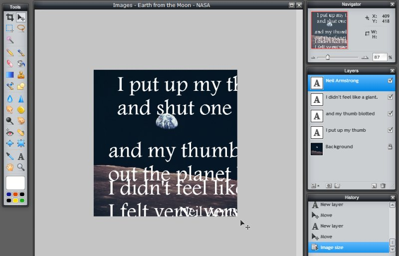 Images - Quote on Photograph - Resizing image does not resize text in Pixlr - Lorelle WordPress School