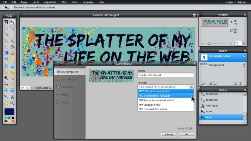 Images - Save image as JPEG or PNG options in Pixlr - Lorelle WordPress School