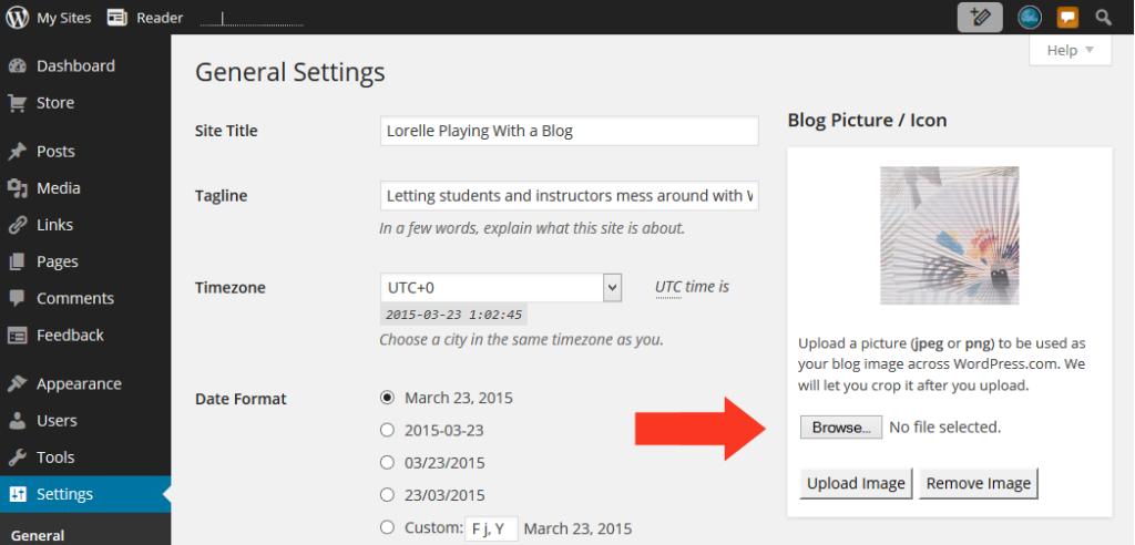 Images - Screen Capture narrow width of window with arrow - Lorelle WordPress School