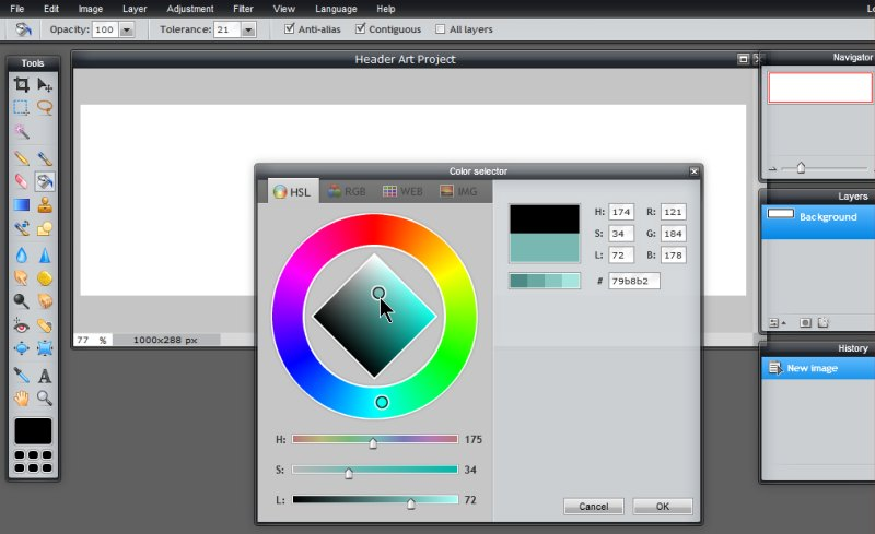 Images - Selecting the colors for custom header art in Pixlr - Lorelle WordPress School