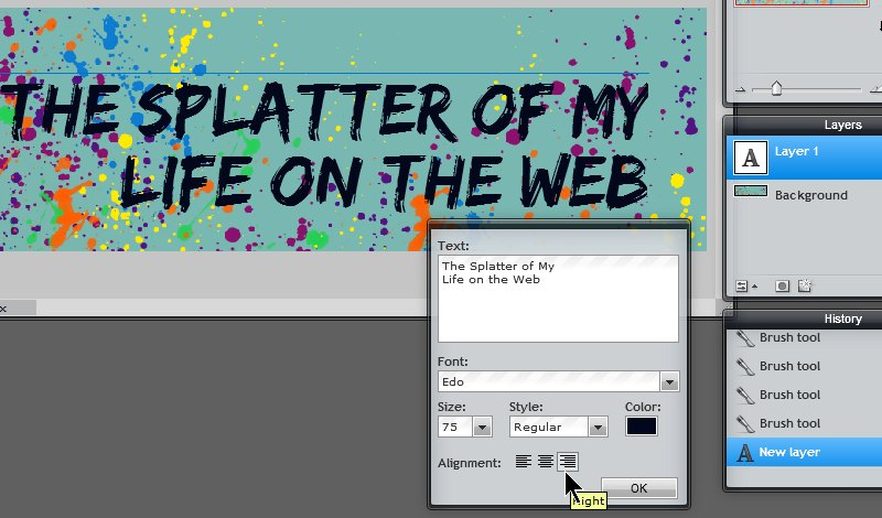 Images - Setting the Text Alignment in the Header Art in Pixlr - Lorelle WordPress School