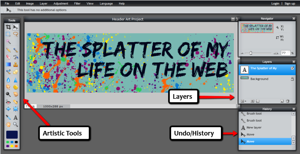Images - Header Art Project with Pixler - Screenshot example with Jing and layers of instructions - Lorelle WordPress School.