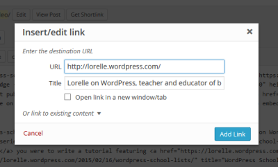 Screenshot of the Link Box in WordPress posts and Pages - Lorelle WordPress School