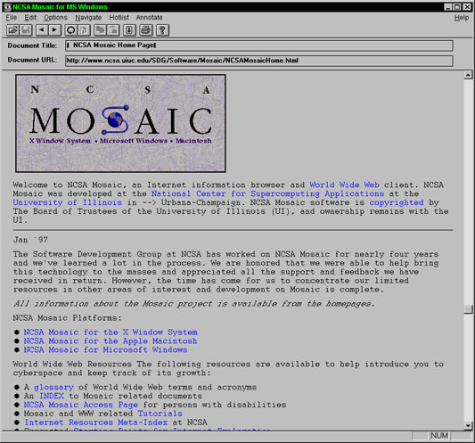 Screenshot of the earliest web browser, Mosaic.