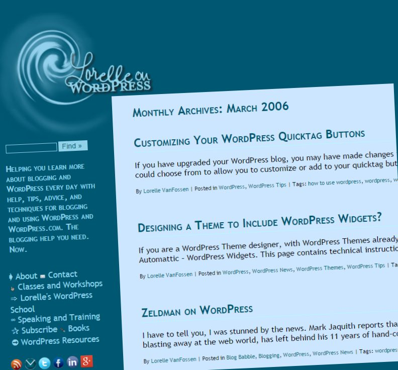 Screenshot of Pageviews - March 2006 Monthly Archives on Lorelle on WordPress - Lorelle WordPress School.