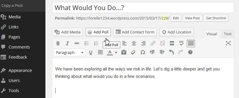 Polls - Click the Add Poll button to add poll where cursor is placed - Lorelle WordPress School.