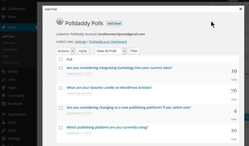 Polls - Polldaddy displays list of previous polls or create new - Lorelle WordPress School.