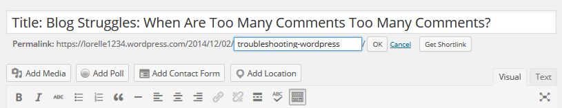 Post Slug - Screenshot of the Visual Editor post slug feature - Lorelle WordPress School
