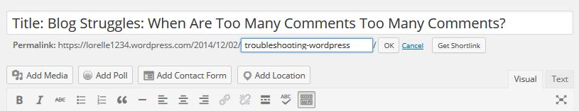 Post Slug - Screenshot of the Visual Editor post slug feature - Lorelle WordPress School