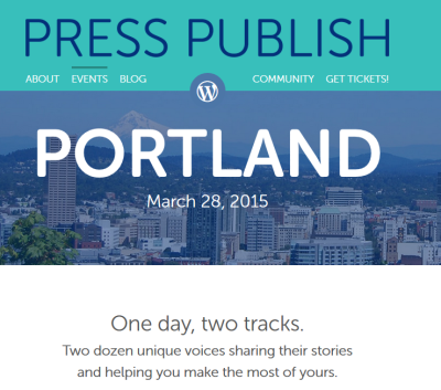 Press Publish banner for Portland, Oregon event.