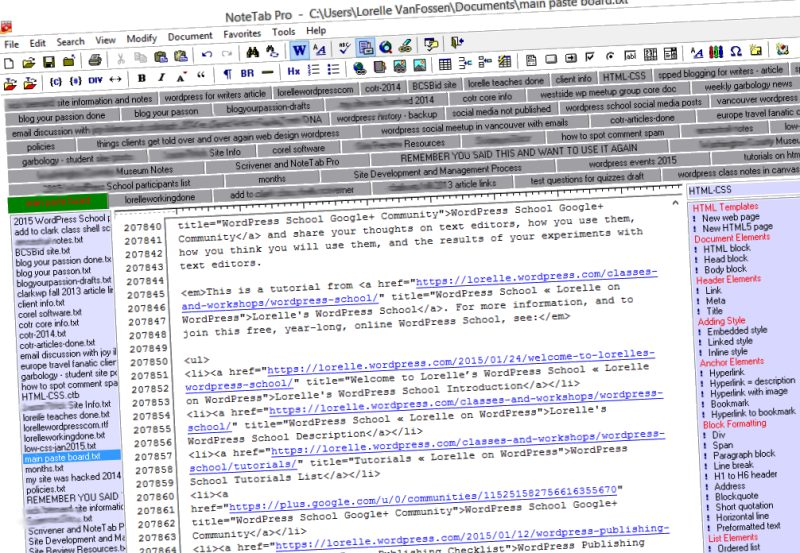 Text Editor - NoteTab Pro Interface - Lorelle WordPress School.