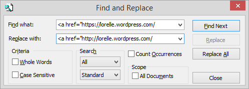 Text Editor - NoteTab Pro Search and Replace - Lorelle WordPress School.