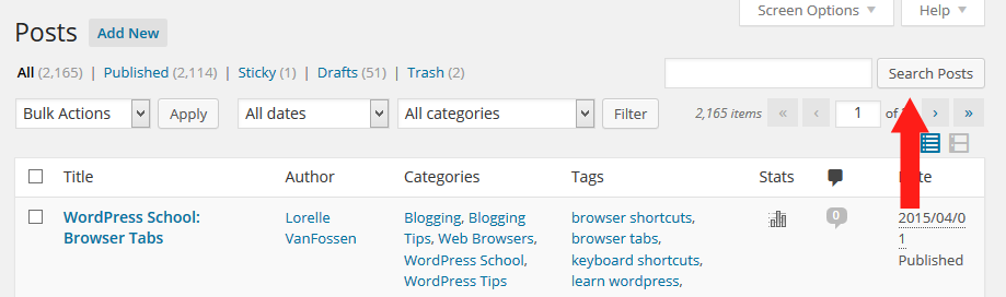 Screenshot of Browser - Searches - WordPress Search Posts Form - Lorelle WordPress School.