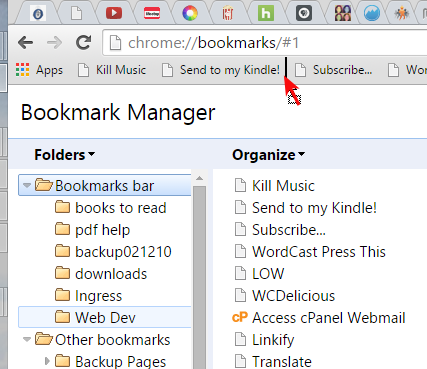 Screenshot of Browsers - Add Folder to Browser Bar - Lorelle WordPress School.