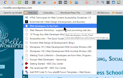 Screenshot of Browsers - Add Folder to Browser Bar of Bookmarks - Lorelle WordPress School.