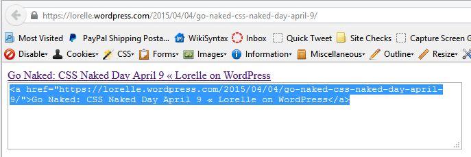 Screenshot of Browsers - Bookmarklets - Create HTML Anchor Tag Link on Web Page - Lorelle WordPress School.