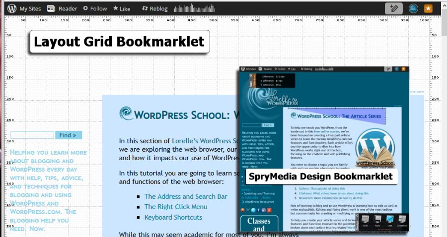 Double Screenshot of Browsers - Bookmarklets - Layout Grid and Spry Media Design - Lorelle WordPress School.