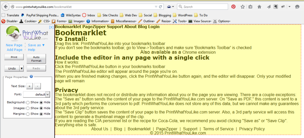 Screenshot of Browsers - Bookmarklets - Printwhatyoulike bookmarklet to control your web printing experience - Lorelle WordPress School.