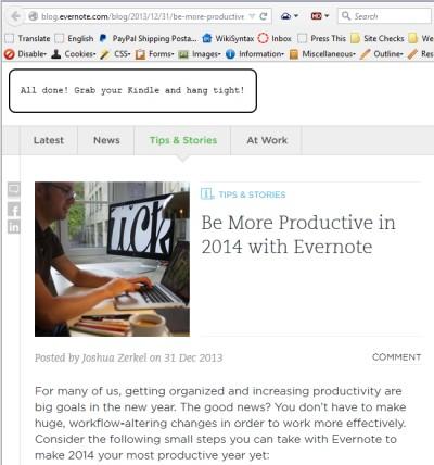 Screenshot of Browsers - Bookmarklets - Send to Kindle - Lorelle WordPress School.