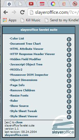 Screenshot of Browsers - Bookmarklets - Slayeroffice Favelet Suite for web dev - Lorelle WordPress School.