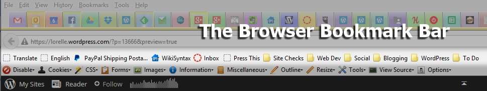 Screenshot of Browsers - Browser Bookmark Bar on Firefox highlighted - Lorelle WordPress School.