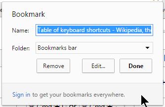 Screenshot of Browsers - Chrome Add Bookmark dialog box - Lorelle WordPress School.