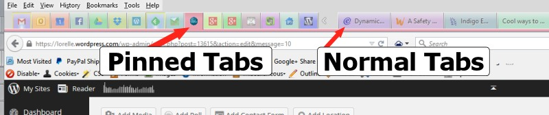 Screenshot of Browsers - Firefox Pinned and Normal Tabs - Lorelle WordPress School.