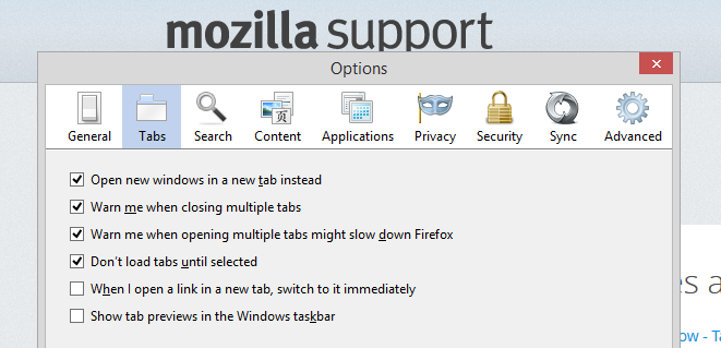 Screenshot of Browsers - Firefox Tab Option Settings - Lorelle WordPress School.