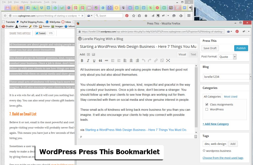 Screenshot of Browsers - WordPress Press This Bookmarklet Pop Up WordPress Editor - Lorelle WordPress School.
