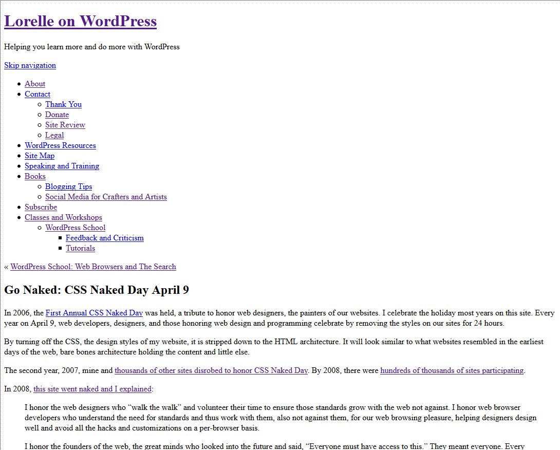 css css naked day site no styles lorelle wordpress  css css naked day site no styles lorelle wordpress school