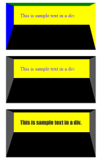 Screenshot of HTML test file with CSS background color of yellow added to all DIVs.