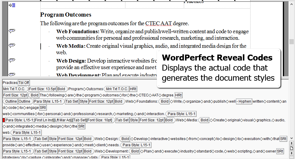Screenshot of WordPerfect Reveal Codes Displays the codes under the document to style the content - Lorelle WordPress School.