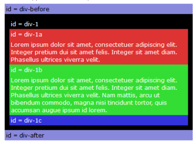 HTML - CSS - BarelyFitz Designs - Learn CSS Positioning - DIV blocks representing Web Page Layout.