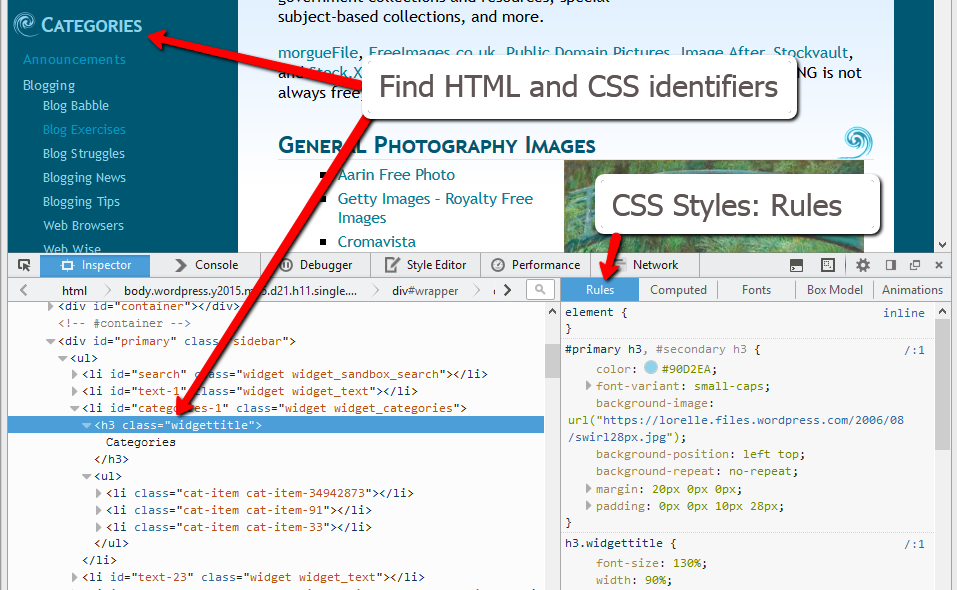 HTML - CSS - Finding Your CSS Styles in WordPress - WordPress Widget Heading.