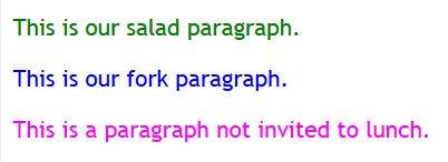 HTML - CSS - Parent Child Relationship - Paragraphs of different colors.