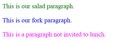 HTML - CSS - Parent Child Relationship - Paragraphs of different colors with font changed to Times Roman.