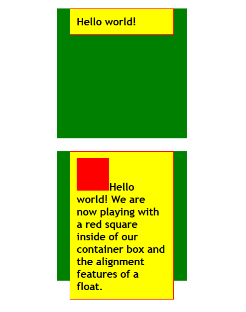 HTML - CSS - Positioning example one with floats no float.