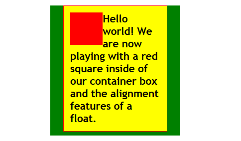 HTML - CSS - Positioning - Float Class Alignleft added to the image.