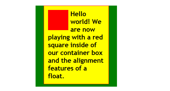 HTML - CSS - Positioning - Float Class Alignleft added to the image with padding on left and bottom.