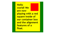 HTML - CSS - Positioning - Floats - red box floated to the right of the text.